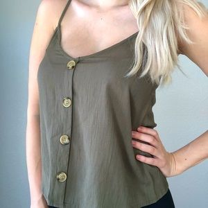 TIMING Olive Green Tank Top